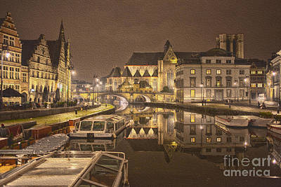 Rivver Lei In Ghent At Night Art Print by Patricia Hofmeester