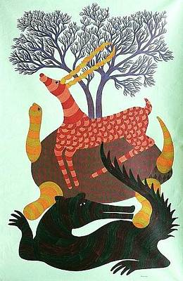 Gond Tribal Art Painting - Rkt 12 by Ravi Kumar Tekam