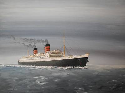 Queen Mary Painting - R.m.s Queen Elizabeth by James McGuinness
