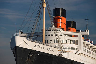 Liner Photograph - Rms Queen Mary Cruise Ship At A Port by Panoramic Images