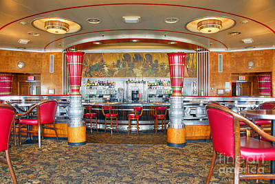 Photograph - Rms Queen Mary Deco Bar And Lounge Long Beach Ca by David Zanzinger