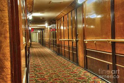 Photograph - Rms Queen Mary Passenger Hallway Passageway  by David Zanzinger