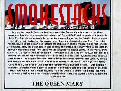 Photograph - Rms Queen Mary Smokestacks Sign by Jeff Lowe
