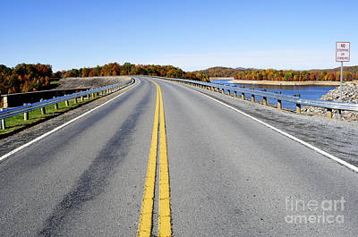 Road Across Summersville Dam Art Print by Thomas R Fletcher
