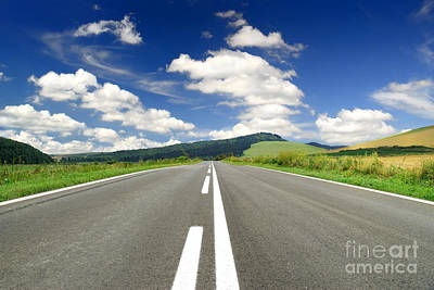 Road And Beautiful Sky Art Print by Boon Mee