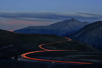Photograph - Road At Night With Headlights by Keith Ladzinski