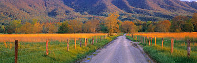 Dirt Roads Photograph - Road At Sundown, Cades Cove, Great by Panoramic Images