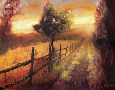 Tuscany Vineyard Oil Painting - Road At Sunset Florence Italy by Christopher Clark