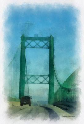 Asphalt Digital Art - Road Bridge 03 San Pedro Ca Photo Art 01 by Thomas Woolworth
