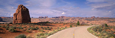 Courthouse Rock Photograph - Road Courthouse Towers Arches National by Panoramic Images