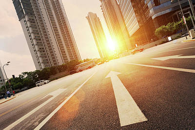 Photograph - Road In City With Sunset by Loveguli