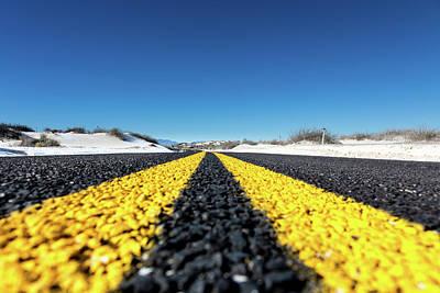 One Point Perspective Photograph - Road Markings On Asphalt by Wladimir Bulgar
