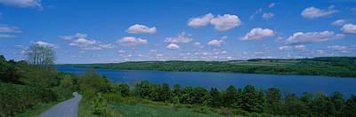 Road Near A Lake, Owasco Lake, Finger Art Print by Panoramic Images