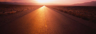 Vanishing America Photograph - Road Passing Through A Desert, Nevada by Panoramic Images
