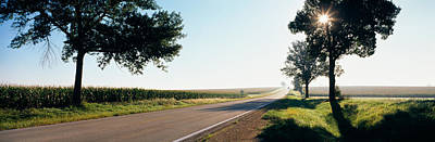64 Photograph - Road Passing Through Fields, Illinois by Panoramic Images