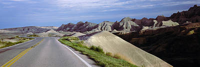 South Dakota Tourism Photograph - Road Passing Through The Badlands by Panoramic Images
