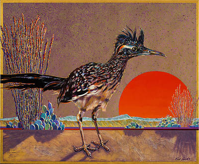 Desert Scape Painting - Road Runner At Sundown by Bob Coonts