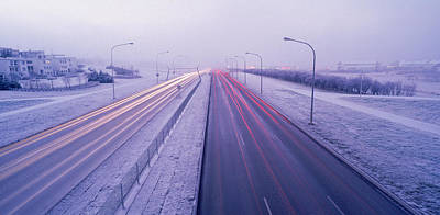 Road Running Through A Snow Covered Art Print by Panoramic Images