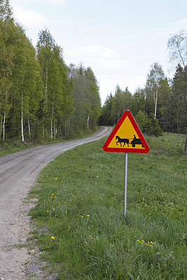 Road Sign With Carriage Art Print by Ulrich Kunst And Bettina Scheidulin