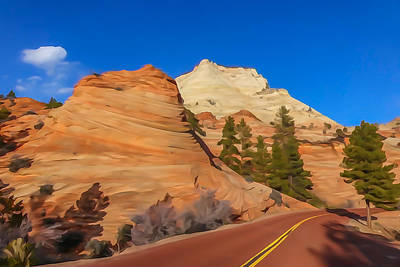 Photograph - Road Through Zion Np by Tom and Pat Cory