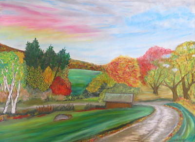 Pastel - Road To Autumns Harvest- Glynnwood Farms by Daniel Dubinsky