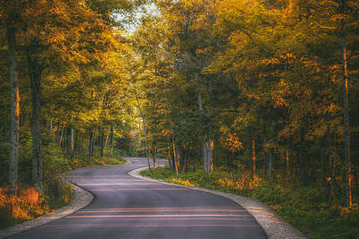 Autumn Photograph - Road To Cave Point by Scott Norris