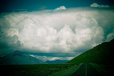 Road To Clouds In Tibet Art Print by Raimond Klavins