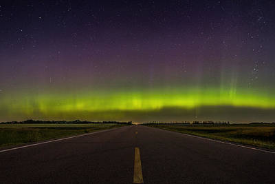 Sioux Photograph - Road To Nowhere - Aurora Borealis by Aaron J Groen