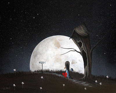 Big Moon Painting - Surreal Art Prints By Erback by Shawna Erback