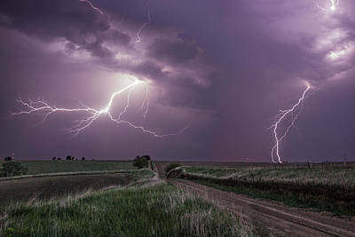 Road To Nowhere - Lightning Art Print by Aaron J Groen