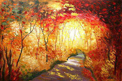 Cafes Painting - Road To The Sun by Leon Zernitsky