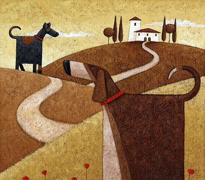 Dogs Photograph - Road To Tuscany by Peter Adderley