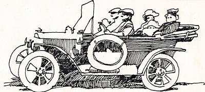 Family Car Drawing - Road Trip by Dale Michels