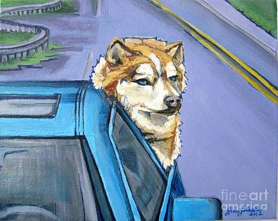 Painting - Road-trip - Dog by Grace Liberator