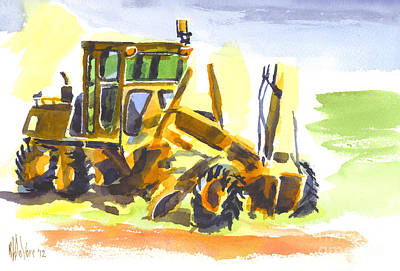 Roadmaster Tractor In Watercolor Original by Kip DeVore