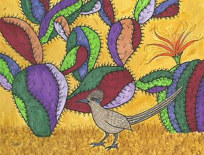 Art Print featuring the painting Roadrunner And Prickly Pear Cactus by Susie Weber