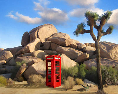 Roadrunner Mixed Media - Phone Booth In Joshua Tree by Snake Jagger