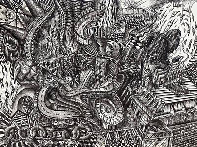 Trippy Drawing - Roads by Dave Trzebinski