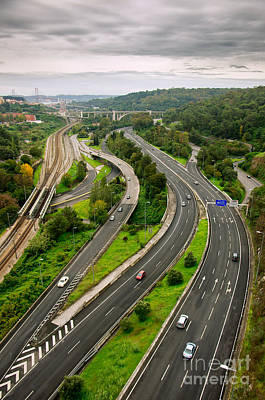 Grey Clouds Photograph - Roads Top View by Carlos Caetano