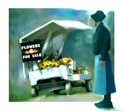 Art Print featuring the painting Roadside Flower Stand Alternate Version by Bob Salo