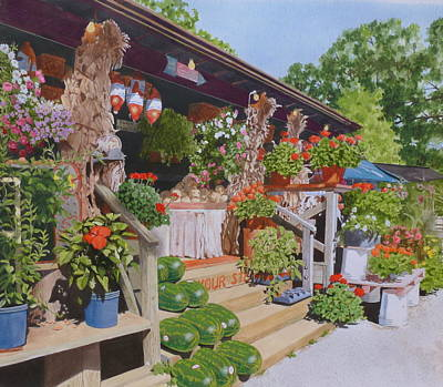 Watermelon Mixed Media - Roadside Stand by Constance Drescher