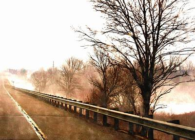 Bounded Area Painting - Roadside With Guardrail In Fog by Rosemarie E Seppala