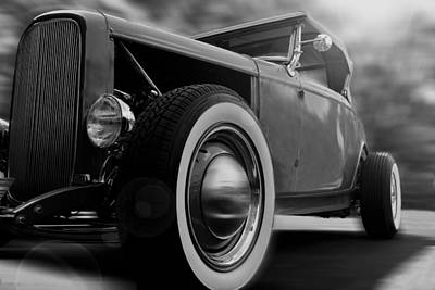 Photograph - Roadster - Black And White by Ron Grafe