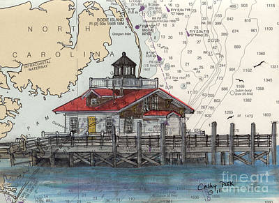 Roanoke Marsh Lighthouse Nc Nautical Chart Map Art Art Print by Cathy Peek