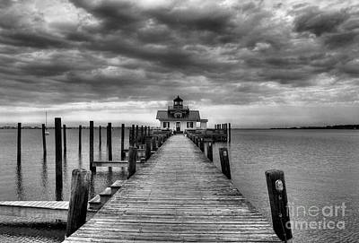 Photograph - Roanoke Marshes Light 2 Bw by Mel Steinhauer