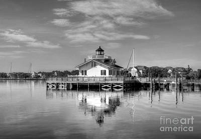 Roanoke Marshes Light 3 Bw Art Print by Mel Steinhauer