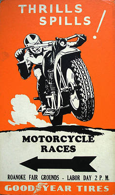 Roanoke Digital Art - Roanoke Vintage Motorcycle Racing Poster by Georgia Fowler