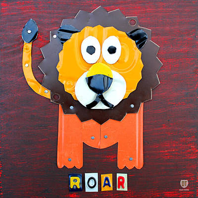 Travel Mixed Media - Roar The Lion License Plate Art by Design Turnpike