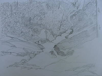 Drawing - Roaring Fork Falls - Sketch by Joel Deutsch