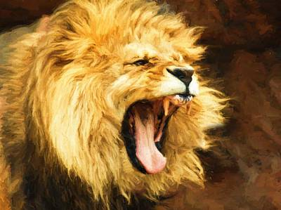 Digital Art - Roaring Lion by Kaylee Mason